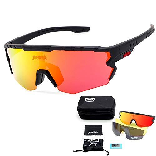 JEPOZRA Gafas Ciclismo Polarizadas, Gafas de Conducción de Medio Cuadro con 3 Lentes Intercambiables, Gafas de Protección UV para Montar Se Adapta al Esquí Correr Ciclismo,Deportes al Aire Libre