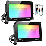 Onforu 2 Pezzi 100W Faretto LED RGB Colori, Proiettore LED Colorato con...