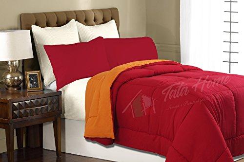 Tata Home Piumone Trapunta Invernale Bicolore Double Face Da 350 Gr/Mq Misura 1 Piazza E Mezza 220X260 Cm Colore Bordeaux Arancio