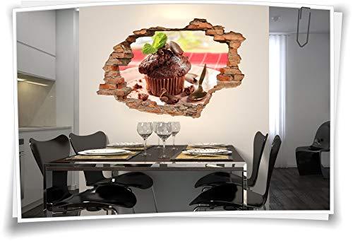 Medianlux 3D muurschildering muursticker muffin chocolade bord lekker lepel decoratie