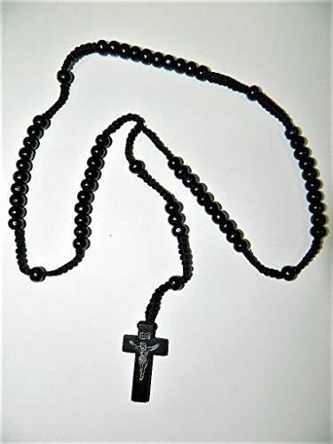 sans Chapelet en Bois Grains Ronds Noir 6mm sur Corde Croix du Christ Religieux chrétien