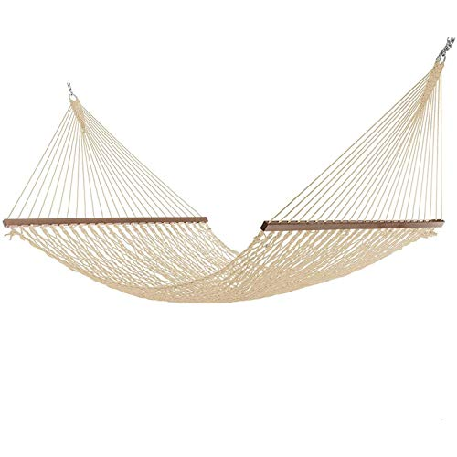 BIGMALL Large 12FT Rope Hammock, Quick Dry Rope Hammock with Double Size Solid Wood Spreader Bar Outdoor Patio Yard Poolside Hammock, 2 Person 450 Pound Capacity