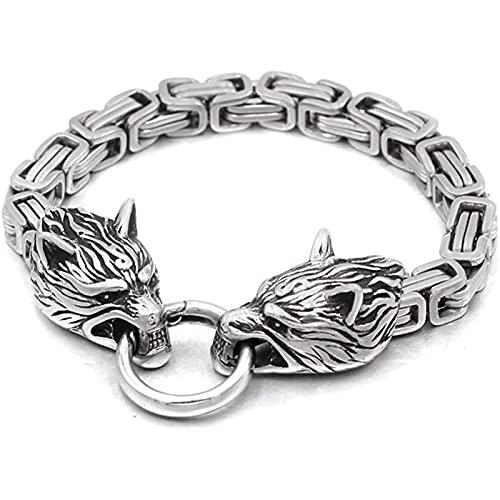 Mitología nórdica Lobo cabeza mjolnir pulsera, joyería de la cadena de amuleto de los hombres vintage, vikingo Pulsera de acero inoxidable colgante Silver-19cm/7.5inch