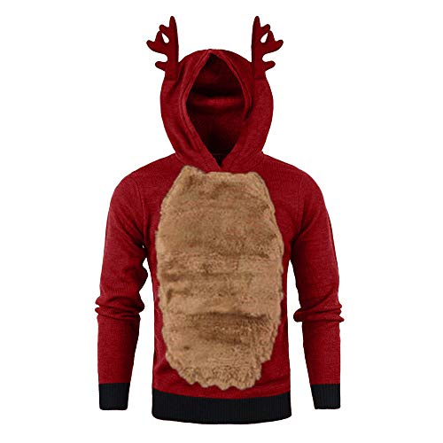 12222 Sudaderas Casual Suéter con Capucha y Costuras de Asta de Más Terciopelo con Capucha de Navidad Suelto para Hombre Elegante