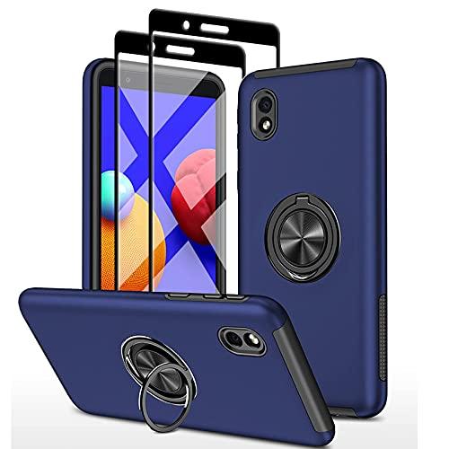 SmaCase Funda Compatible con Samsung Galaxy A01 Core Carcasa +2 Piezas Protector de Pantalla 360 Grados Anillo Giratorio para Soporte -...