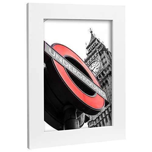 Bilderrahmen Fotorahmen 33x98 cm weiß bilderrahmen zum aufhängen MDF Picture Frames Farbe und 40 Verschiedene Größen wählbar ohne Passepartout Rahmen London