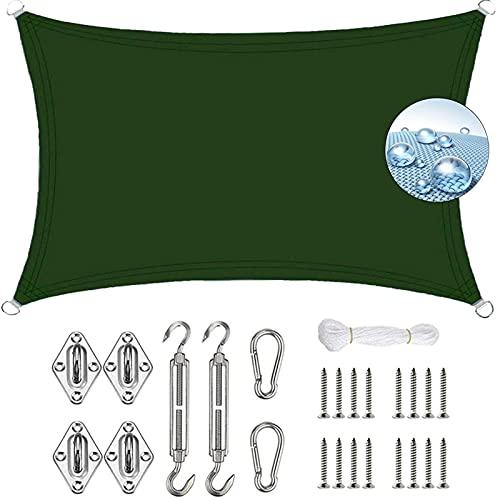 AMZERO Toldo Rectangular 2x4m Protección Solar Rayos UV Impermeable 304 Acero Inoxidable Kit de Montaje para Exteriores Patio, el jardín, protección UV, Verde Oscuro