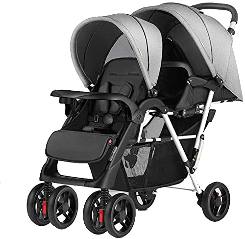 Baby Stroller Bassinet Pram Carriage Stroller Double Buggy Pushchair Pram Twin Stroller for Newborn and Toddler, Double Stroller - Lightweight Double Stroller with Tandem Seating, (Color : Gray)