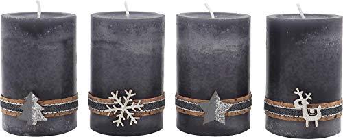 ZauberDeko 4 Adventskerzen Kerzen Stumpenkerzen Grau Silber Holz Weihnachten Advent Deko Tischdeko