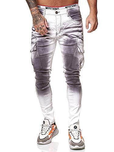 OneRedox Designer Herren Jeans Cargohose Regular Skinny Fit Jeanshose Destroyed Stretch Modell 8020 30