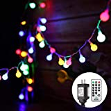 Fairy String Lights Plug in, 33 FT 100 LED Globe Ball String Lights 8 Modes with Remote Control for Bedroom Indoor Outdoor Garden, Patio, Christmas,Birthday Party, Wedding Decorations (Multi Colored)
