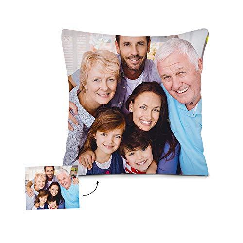 Kissen mit Foto, Personalisierte Kissen, Fotokissen mit Bild für Weihnachten, Geburtstag, Vatertag, Muttertag etc (Weiß, 45 x 45 cm)