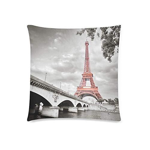 HZLM Funda de cojín de la Torre Eiffel de París en estilo monocromo con colorización selectiva funda de almohada con 45 x 45 cm, funda de almohada para dormitorio o sofá