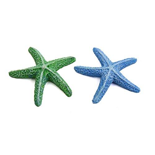 sourcing map 2pcs Estrella de mar Resina decoración Ornamento para Acuario Betta Pecera