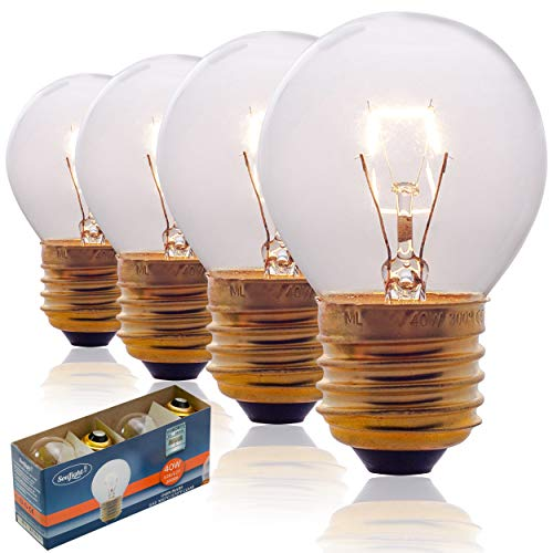 Oven Light Bulbs – 40 Watt Appliance Replacement Bulbs for Oven, Stove, Refrigerator, Microwave. Incandescent - High Temp G45 E26/E27 Socket. Standard Lead-Free Base - 400 Lumens - Clear. 4 Pack