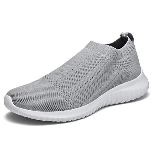 konhill Women's Casual Walking Shoes Breathable Mesh Work Slip-on Sneakers 5 US Light Grey,35