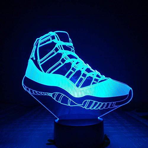 Zapatos de ilusión 3D luz de baloncesto decoración nocturnailusión3Dsensor táctil niño regalo para niñosLuz de nocheLEDCargaUSBregalo de ventilador de baloncesto decoración