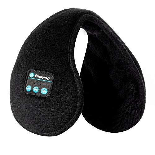 Voerou Ear Muffs Wireless Headphones Ear Warmers ear Muffs Headsets Foldable Unisex Fleece Ear Warmer with Microphone for Winter Outdoor Men Women and Girls/Kids (Black)