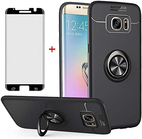 Phone Case for Samsung Galaxy S7 Edge with Tempered Glass Screen Protector Cover and Ring Holder product image