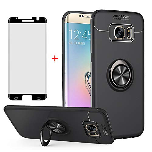 Phone Case for Samsung Galaxy S7 Edge with Tempered Glass Screen Protector Cover and Ring Holder Stand Kickstand Cell Accessories Slim Glaxay S7edge Gaxaly S 7 Plus Galaxies GS7 7s 7edge Cases Black