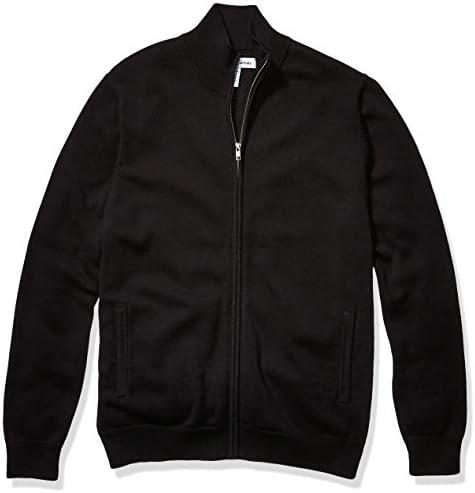 Amazon Essentials Men s Full Zip Cotton Sweater Black Large product image