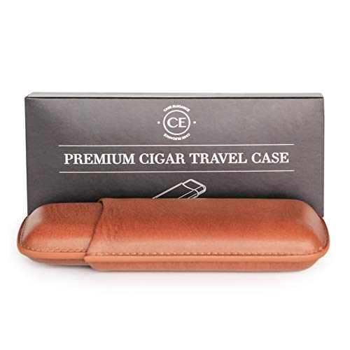 CASE ELEGANCE Two Cigar Travel Vegan Leather Case in Chestnut Brown