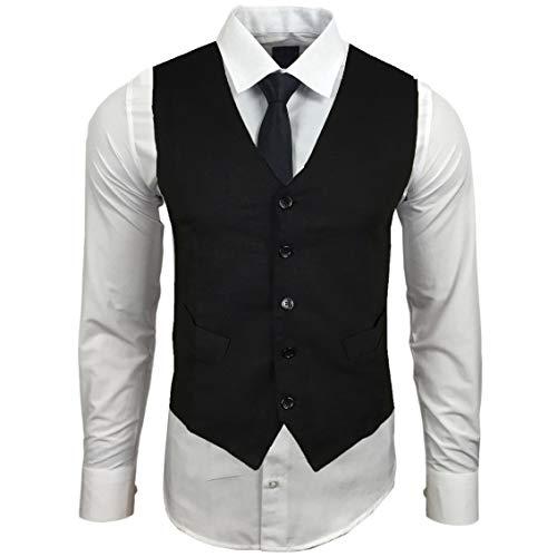 Rusty Neal Herren Hemd mit Weste Krawatte Anzugs Sakko Business Hochzeit Freizeit Hemden Set wählbar RN-44-HWK, Größe:3XL, Farbe:Weiß