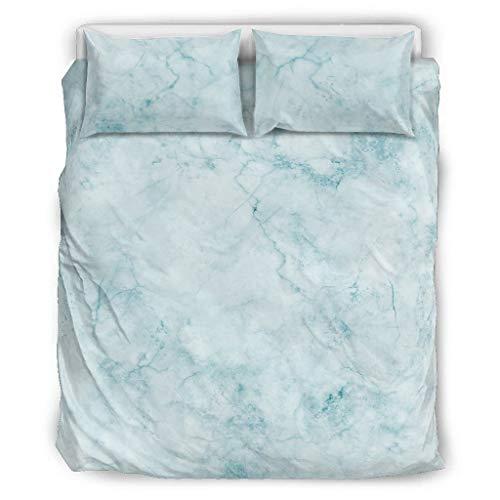Juego de ropa de cama de 3 piezas con textura de mármol, funda de almohada y funda de almohada de tono fresco, suave y cómodo, color blanco, 229 x 229 cm