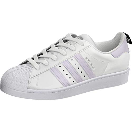 adidas Originals Damen Superstar Turnschuh, Weiß/Lila Tönung/Silber-Metallic, 39 EU