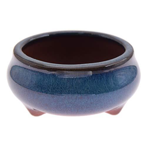 KOZOREN Chinese Bonsai Pot Oval Glazed Flower Pot Planter Home Garden Decor/Mini Ceramic Pots, E