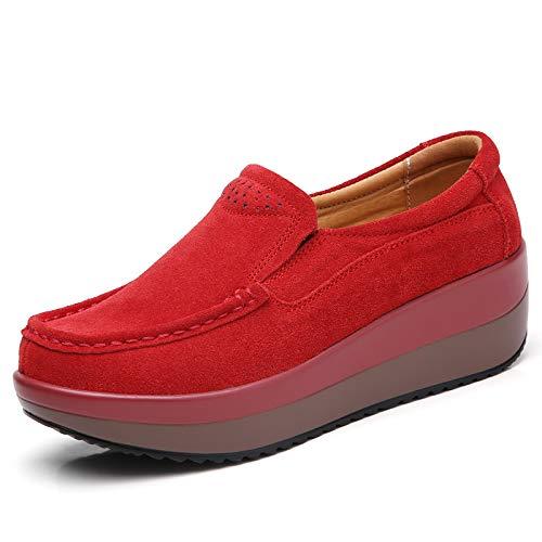 Primavera Y Otoño De Suela Gruesa Lussou Muffin Zapatos De Mujer Pendiente Con Zapatos De Mujer De Suela Plana Zapatos Mecedores De Suela Plana Zapatos De Frijol Mujeres 36 3213 rojo