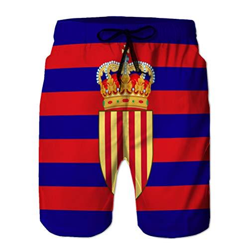 jiilwkie Baador para Hombre con Estampado 3D Shorts de Playa de Secado rpido Bandera de catalua de espaa M