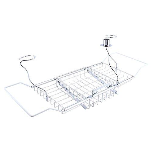 Zerone uitschuifbare lade voor bad, opslag plank voor lade tablethouder voor iPad wijnglas houder boek plank zilver