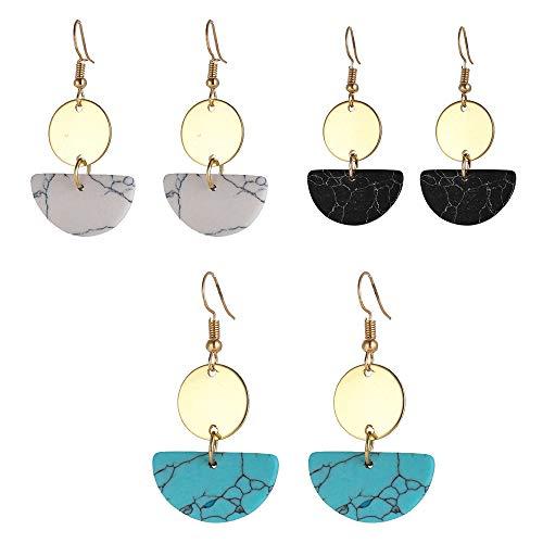 3 paren Lucite Resin Hoop Earrings, Lichtmetalen Geometric turquoise oorbellen Boho oorbellen voor vrouwen