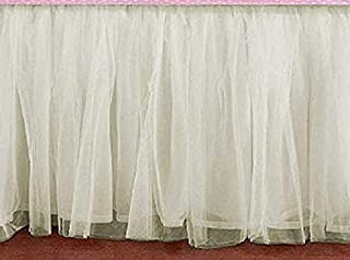 Cream Tulle Ruffled Lined Crib Skirt 16 Inch Drop 3 Sided