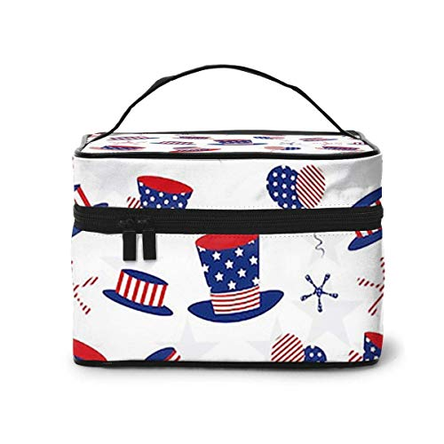 Makeup Bag Pattern Th July American (2) Portable Travel Cosmetic Bag Organizer Multifunction Case with Double Zipper Toiletry Bag for Woman (9'x6.2'x6.5')