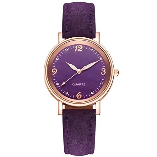 Relojes para mujer ultra delgados, minimalistas, impermeables, de moda, casual, de cuarzo, para mujeres, niñas, correa de cuero, esfera de acero inoxidable, mejor regalo pulsera (G)
