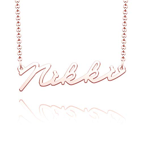 EV.YI Jewels Stainless Steel Plated Silver Personalized Customized 1mm Name Necklace