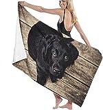 Telo Mare Black Labrador Puppy Retriever Cani Asciugamani da bagno in microfibra Asciugamano ad asciugatura rapida Coperta da viaggio Piscina da bagno Yoga Campeggio Palestra Sport 80x130cm