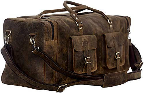 KomalC 28 inch Duffel Bag Travel Sports Overnight Weekend Leather Duffle Bag for Gym Sports Cabin Holdall bag