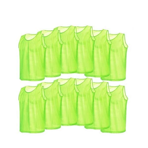 Soccer Training Vests, 12 Pcs Breathable Nylon Mesh Scrimmage Vests for Football Basketball