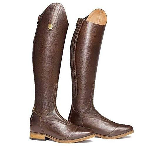 LEIJINGZI Worth Having - 2020 Paardrijden laarzen, paardensportlaarzen, brede schacht Middeleeuwse kostuum lange gladde lederen knie hoge laarzen, sportwedstrijd veldlaarzen, bruin-3.5uk