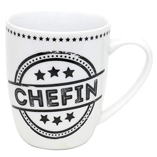 Dekohelden24 Kaffeebecher/Tasse aus Porzellan, Motiv: Chefin. Größe H/Ø: 9,8 x 8,2 cm, Fassungsvermögen 250 ml, Spülmaschinengeeignet.
