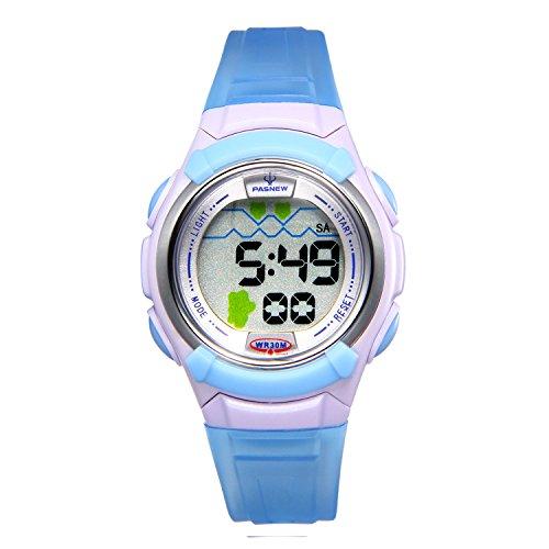 JewelryWe süße Kinder Armbanduhr, 30M Wasserdicht Multi-funktional Digital Elektronische Uhr Sportuhr mit 12H, LED Licht, Alarm, Stoppuhr, Wecker, Datum und Tag Farbe: Blau