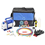 car ac tools - 3CFM 1/4HP Single-Stage Vacuum Pump and R12 R22 R134A R502 Brass-Body Manifold Gauge Set Refrigeration Kit with Carrying Tote, Leak Detector for HVAC A/C Refrigeration Recharging and Maintenance