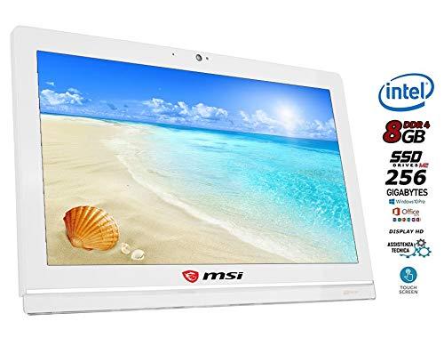All-in-One Msi-Pro Display 19.5 HD Touchscreen, CPU Intel N4000, 8 GB DDR4, SSD 256 GB, 6 USB, WLAN, Webcam, Win10 Pro, Office 2019, gebrauchsfertig, italienische Garantie mit Tastatur und Maus