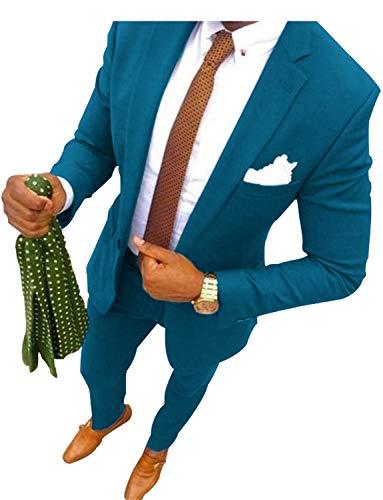Mens 3-Piece Suit One Button Plaid Dress Blazer Jacket & Vest & Trousers Set,Picture Color,Medium