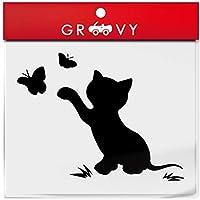 猫 車 ステッカー かわいい 蝶 ちょうちょ 蝶々 黒猫 ノートパソコン かっこいい おしゃれ 車 ブランド アウトドア シール おもしろ グッズ_1182 (ブラック)