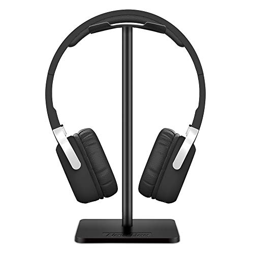 Soporte para auriculares Soporte de auriculares Nuevo soporte para auriculares Bee con barra de soporte de aluminio flexible reposacabezas ABS base sólida para todos los tamaños de auriculares (negro)