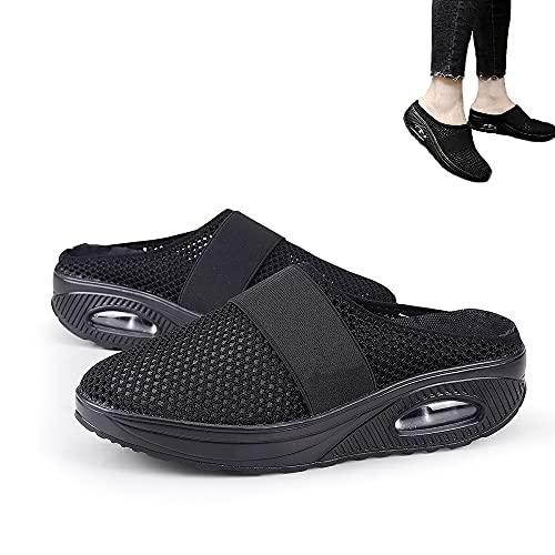Zapatos para caminar con amortiguación de aire para mujeres, sandalias ortopédicas de malla antideslizante para caminar, zapatillas de deporte casual transpirables al aire libre (Black,EU 42)
